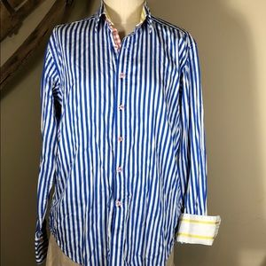 Robert Graham X blue striped shirt -men's medium